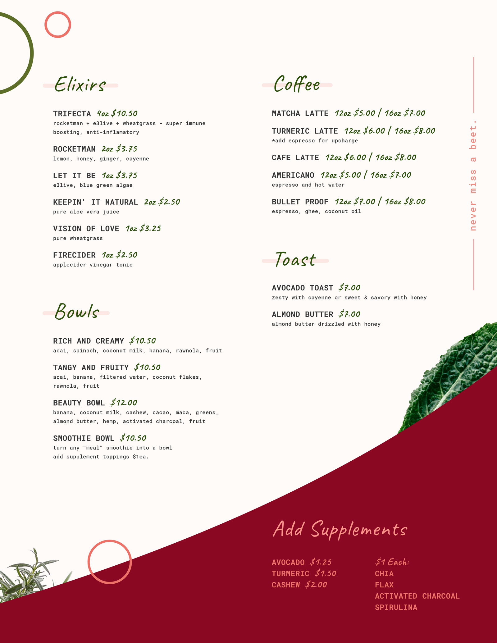 Sip Organic Juice Bar Menu Page 2